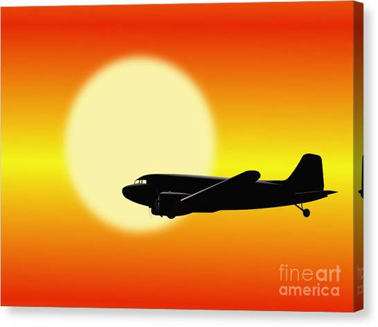 Dc-3 Passing Sun Canvas Print