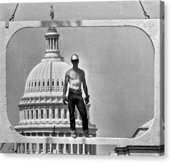Hard Hat Canvas Print - Dc Construction Scene by Underwood Archives