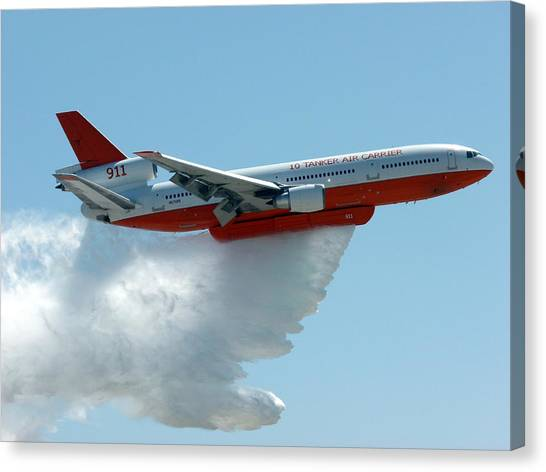 Dc10 Aerial Tanker Dropping Water Canvas Print