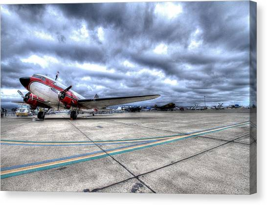Dc3 And C47 Among The Mustangs At Salinas Air Show Canvas Print by John King