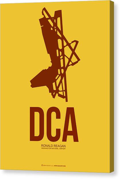 Washington D.c Canvas Print - Dca Washington Airport Poster 3 by Naxart Studio