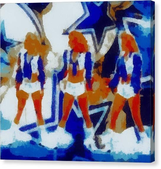 Dallas Cowboys Cheerleaders Canvas Print - Dcc Trio by Carrie OBrien Sibley