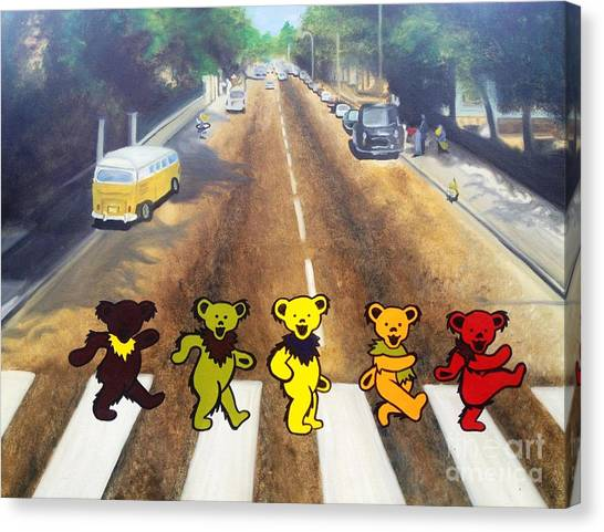 Grateful Dead Canvas Print - Dead On Abbey Road by Jen Santa