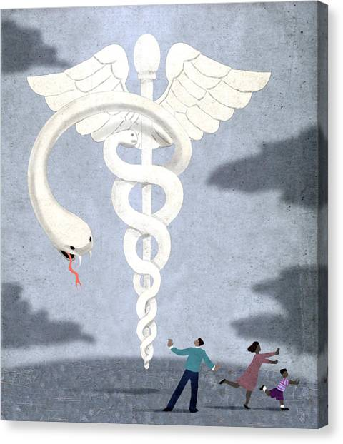 Obamacare Canvas Print - Deadly Caduceus by Steve Dininno