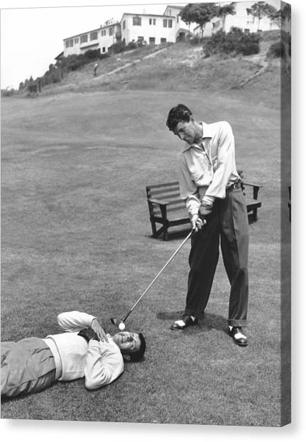 Martin Canvas Print - Dean Martin & Jerry Lewis Golf by Underwood Archives