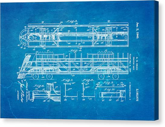Dean train tractor unit 2 patent art 1940 blueprint photograph by dean train tractor unit 2 patent art 1940 blueprint canvas print by ian monk malvernweather Gallery