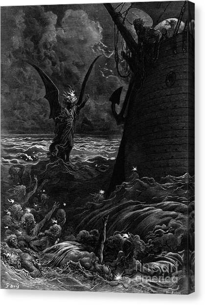 Gustave Canvas Print - Death-fires Dancing Around The Becalmed Ship by Gustave Dore