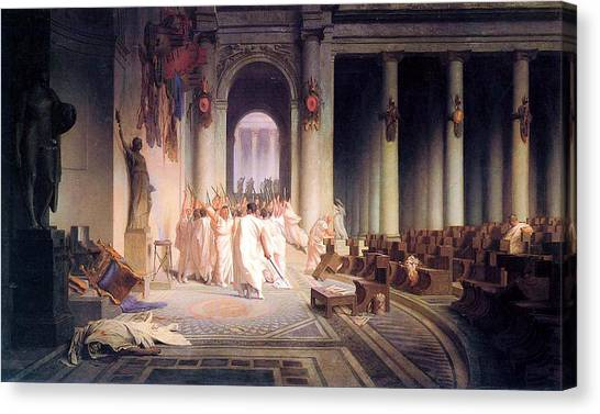 Neoclassical Art Canvas Print - Death Of Caesar by Jean Leon Gerome