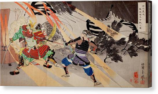 Early Middle Ages Canvas Print - Death Of Imagawa Yoshimoto by Paul D Stewart