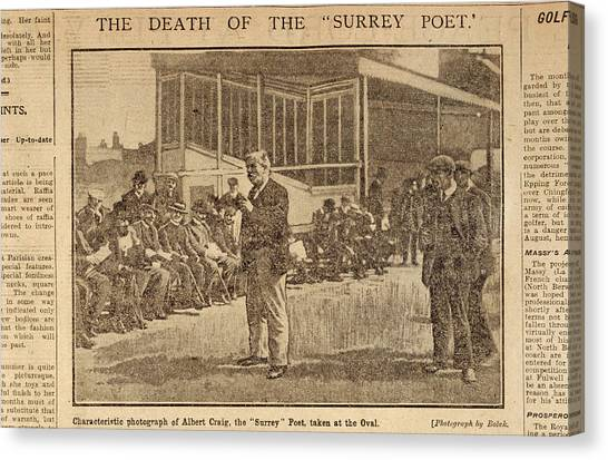 Crickets Canvas Print - Death Of The Surrey Poet by British Library