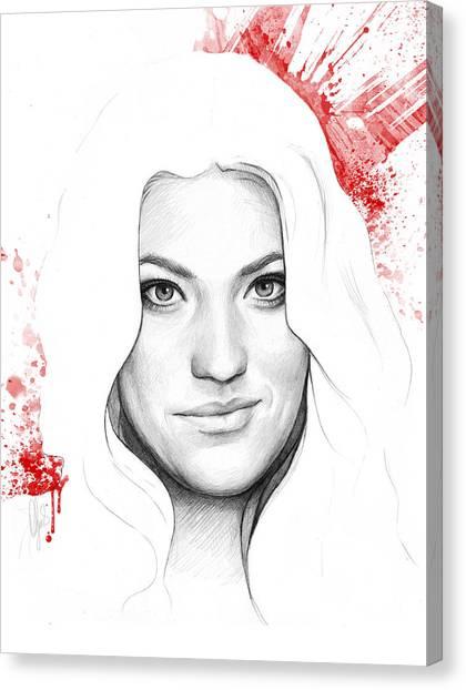 Tv Shows Canvas Print - Debra Morgan Portrait - Dexter by Olga Shvartsur