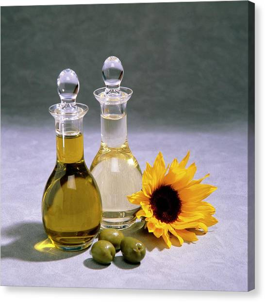 Olive Oil Canvas Print - Decanters Of Olive And Sunflower Oil by Sheila Terry/science Photo Library