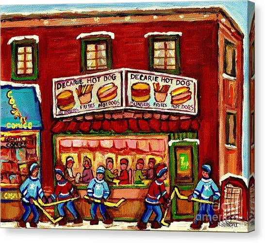 Decarie Hot Dog Restaurant Cosmix Comic Store Montreal Paintings Hockey Art Winter Scenes C Spandau Canvas Print