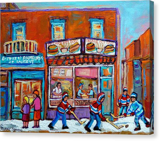 Decarie Hot Dog Restaurant Ville St. Laurent Montreal  Canvas Print