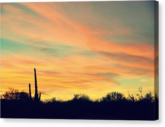 December Sunset Arizona Desert Canvas Print by Jon Van Gilder