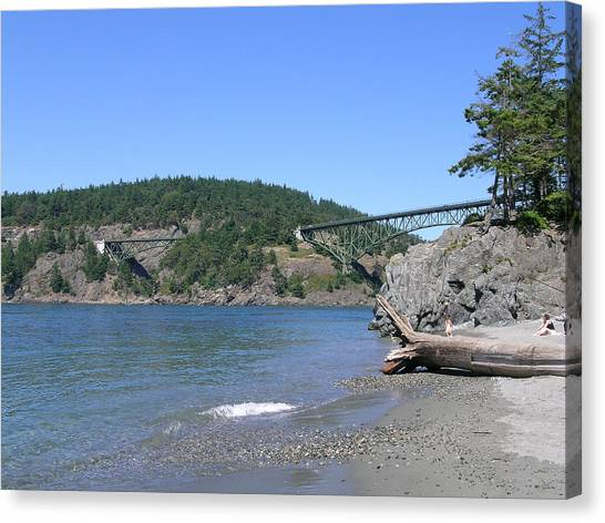 Deception Pass Bridge II Canvas Print by Mary Gaines