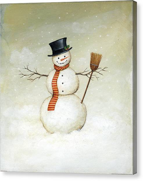 Christmas Canvas Print - Deck The Halls - Snowman by David Carter Brown