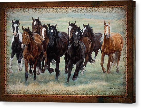 Equestrian Canvas Print - Deco Horses by JQ Licensing