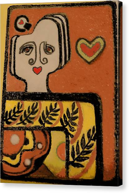 Deco Queen Of Hearts Canvas Print