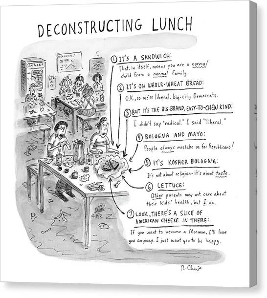 Sandwich Canvas Print - Deconstructing Lunch by Roz Chast