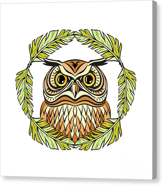 Fauna Canvas Print - Decorative Illustration With An Owl by Olgachka