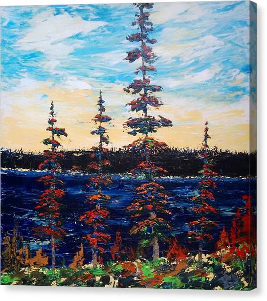 Decorative Pines Lakeside - Early Dusk Canvas Print