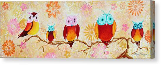Chi Omega Canvas Print - Decorative Whimsical Owl Owls Chi Omega Painting By Megan Duncanson by Megan Duncanson