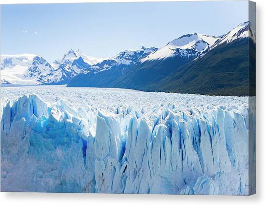 Perito Moreno Glacier Canvas Print - Deep Blue Cracks Line The Front Wall by Mike Theiss