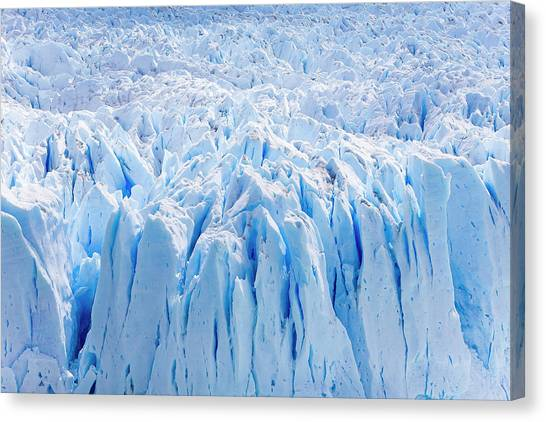 Perito Moreno Glacier Canvas Print - Deep Blue Cracks On The Front Wall by Mike Theiss