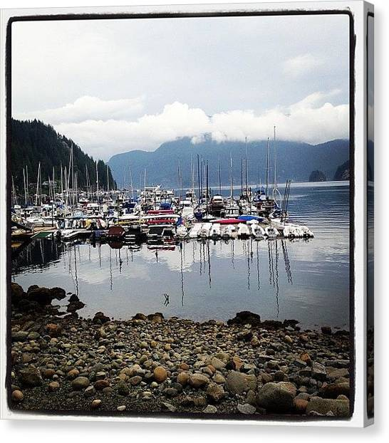 Sailboats Canvas Print - Deep Cove Marina by Connie Pretula