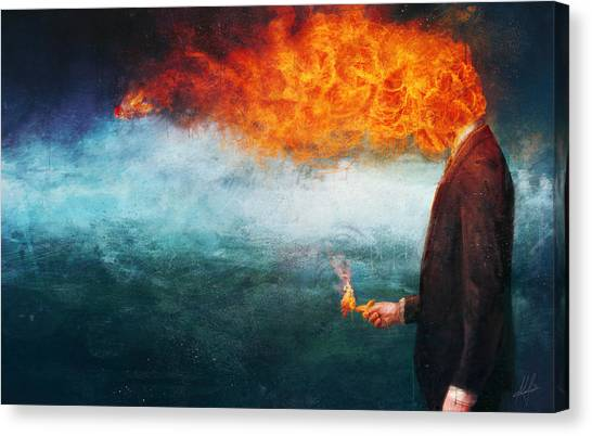 Flames Canvas Print - Deep by Mario Sanchez Nevado