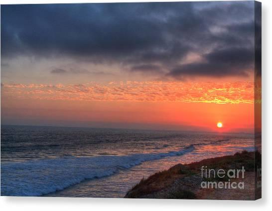 Deep Red Sunset Canvas Print by Deborah Smolinske