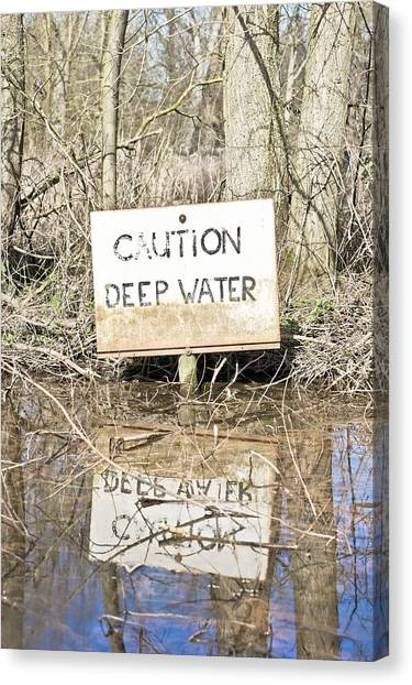 Caution Canvas Print - Deep Water Sign by Tom Gowanlock