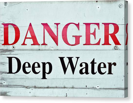 Caution Canvas Print - Deep Water by Tom Gowanlock
