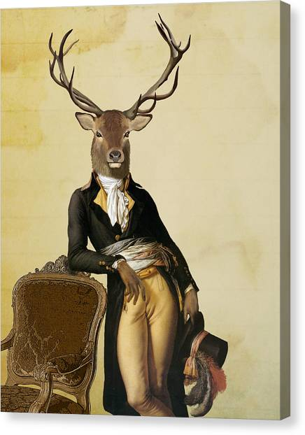 Stag Canvas Print - Deer And Chair by Loopylolly