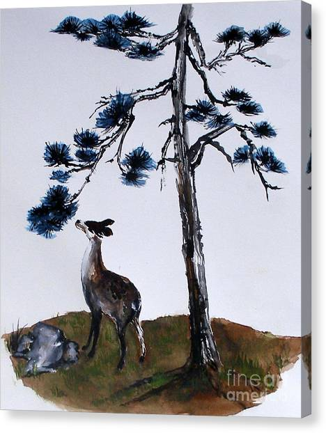 Deer And Pine Canvas Print