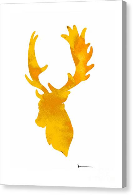 Deer Canvas Print - Deer Antlers Image Watercolor Art Print Painting by Joanna Szmerdt