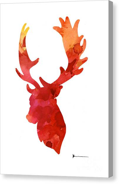 Deer Canvas Print - Deer Antlers Silhouette Art Print Watercolor Painting by Joanna Szmerdt