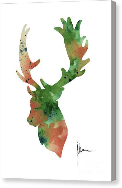 Deer Canvas Print - Deer Antlers Silhouette Watercolor Art Print Painting by Joanna Szmerdt