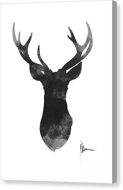 Watercolor Canvas Print - Deer Antlers Watercolor Painting Art Print by Joanna Szmerdt