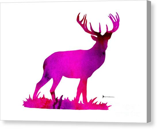 Deer Canvas Print - Deer Figurine Silhouette Poster Watercolor Art Print by Joanna Szmerdt