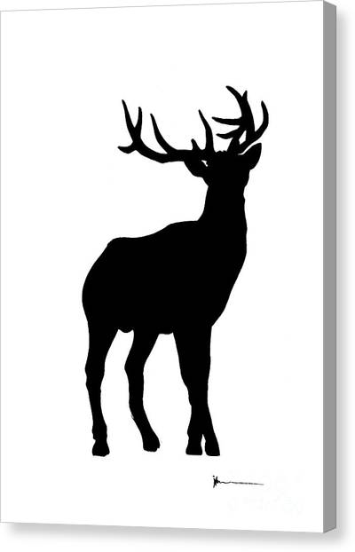 Deer Canvas Print - Deer Figurine Silhouette Watercolor Art Print Painting by Joanna Szmerdt