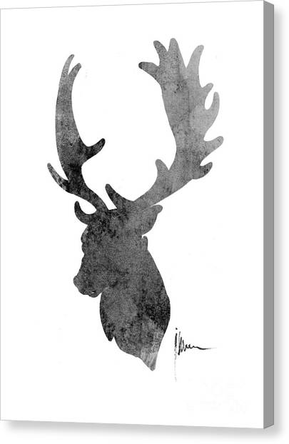 Deer Canvas Print - Deer Head Art Print Watercolor Painting by Joanna Szmerdt
