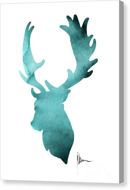 Deer Canvas Print - Deer Head Silhouette Painting Watercolor Art Print by Joanna Szmerdt