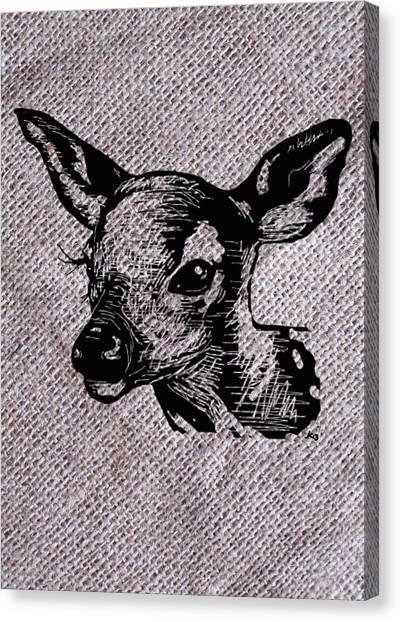 Deer On Burlap Canvas Print