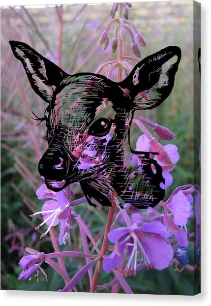 Deer On Flower Canvas Print
