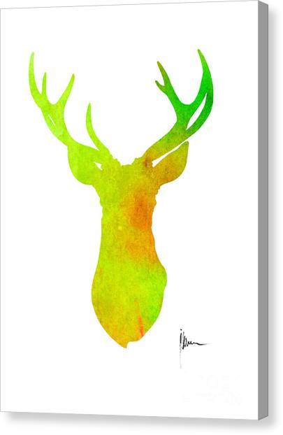Deer Canvas Print - Deer Silhouette Art Print Painting Antlers Home Decor by Joanna Szmerdt