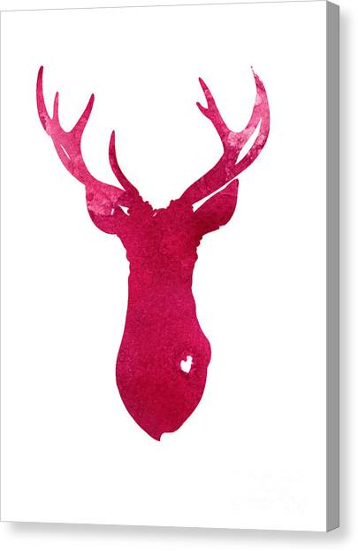 Deer Canvas Print - Deer Silhouette Painting Watercolor Art Print by Joanna Szmerdt