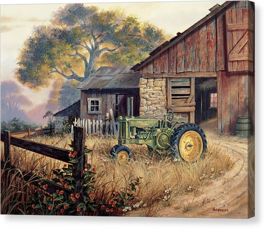Barn Canvas Print - Deere Country by Michael Humphries