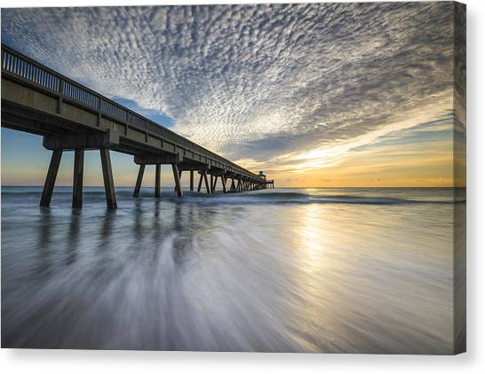 Deerfield Beach Pier Sunrise - Boca Raton Florida Canvas Print